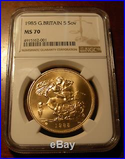 Great Britain 1985 Gold 5 Pounds NGC MS70