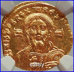 Justinian II FIRST ANCIENT Gold COIN with JESUS CHRIST Byzantine Empire NGC MS