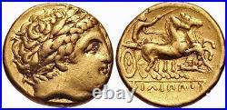 Macedonian Kingdom, Philip II (359-336 BC) Gold AV Stater, NGC Ch VF a gem coin