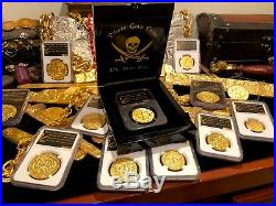 Mexico 1715 Fleet Royal 8 Escudos Ngc Gold Plt Shipwreck Pirate Treasure Coin