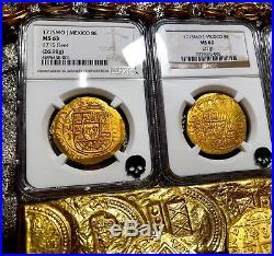 Mexico 1715 Fleet Shipwreck 8 Escudos Ngc 62 Pirate Gold Treasure Cob Coins