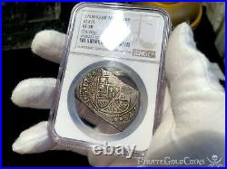 Mexico 1733 Klippe 8 Reales Ngc 3o Pirate Gold Coins Treasure Escudos Doubloon