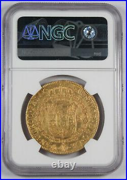 Mexico 1809 Mo HJ 8 Escudos Gold Coin NGC AU Fr-47 KM-160 Almost Uncirculated