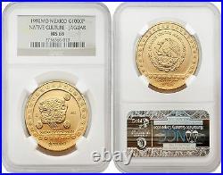 Mexico 1992 Native Culture Jaguar $1000 1 oz Gold NGC MS-68