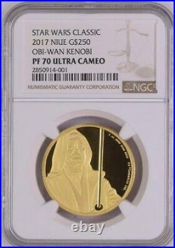 NGC PF 70 Niue 2017 Star Wars Classic $250 Obi-Wan Gold 1 oz. Ultra Cameo Coin