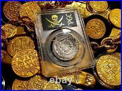 Peru 1556-98 4 Reales Pcgs 35 Shipwreck Treasure Cob Silver Coin Pirate