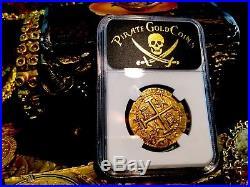 Peru 1703 8 Escudos Ngc 55 Rare-only 2 Kn 1715 Fleet Gold Doubloon Treasure Coin