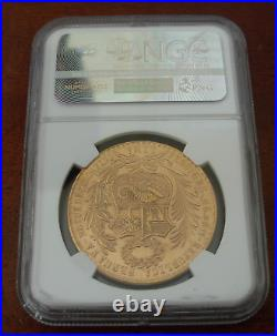 Peru 1965 Gold 100 Soles NGC MS63 Seated Liberty