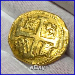 Peru 8 Escudos 1741 Raw Bold Details Pirate Gold Coins Treasure Jewelry Cob