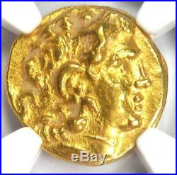 Pontic Mithradates VI AV Gold Stater Lysimachus Athena Coin 120-63 BC NGC AU