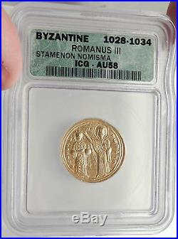 ROMANUS III ARGYROS Ancient 1028AD GOLD Byzantine Coin w JESUS & MARY NGC i66911