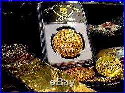 SPAIN 1701 8 ESCUDOS DOUBLOON NGC 58 ONLY 1 KNOWN KING Philip GOLD COIN TREASURE
