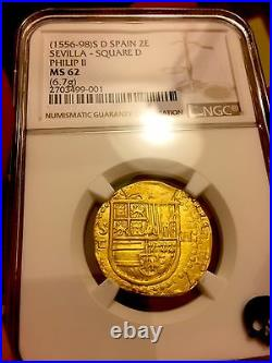 Spain 1556-98 2 Escudos Ngc 62 Pirate Gold Coins Atocha Era Shipwreck Treasure
