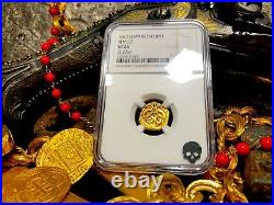 Spain 1617 1 Escudo Ngc 25 Gold Cob Doubloon Pirate Gold Coins Treasure Jewelry