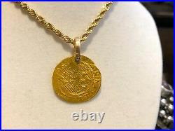 Spain 1 Escudo 1516-56 Jewelry Necklace Pirate Gold Coins Shipwreck Treasure