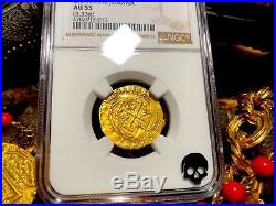 Spain 1 Escudo Ngc55 Pirate Gold Coins Treasure Jewelry Pendant Necklace Cob