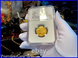 Spain 1 Escudo Ngc 61 Seville Pirate Gold Coins 1516-56 Shipwreck Treasure Cob