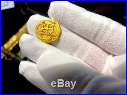 Spain 2 Escudos 1556-98 Full Cross Raw Pirate Gold Coins Treasure Doubloon Cob