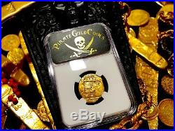 Spain 2 Escudos Fully Dated 1597 Ngc 50 Pirate Gold Treasure Shipwreck Coin Cob
