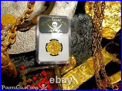 Spain 2 Escudos Ngc 61 Pirate Gold Coins 1556-98 Treasure Doubloon Cob Philip II