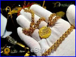 Spain 2 Escudos Pendant Necklace Jewelry 1556-98 Pirate Gold Coins Shipwreck