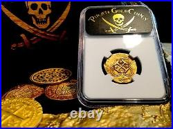 Spain 2 Escudos Rarely Dated 1595! Ngc 50 Gold Doubloon Cob Coin Treasure