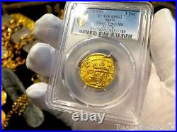 Spain 4 Escudos 1630-55 Brute Style Pcgs 62 Pirate Gold Coins Doubloon Treasur