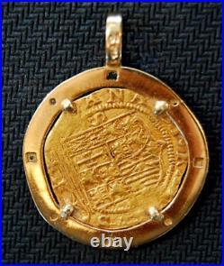 Spain Emerald & Diamonds Bezel Pirate Gold Coins Jewelry Treasure Pendant