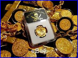 Spain Fully Dated 1590 2 Escudos Ngc 58 Gold Pirate Treasure Shipwreck Coin