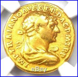 Trajan Gold AV Aureus Coin 98-117 AD NGC Choice Fine 5 Strike and Surface