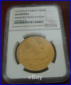 Turkey AH1293//23 Gold 500 Kurush NGC AU Details