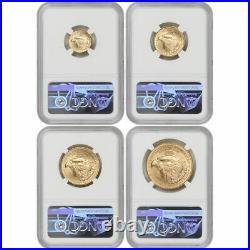 Type 2 W American Proof Gold Eagle 4-Coin Set PR70 NGC 21EFN Eagle Portrait