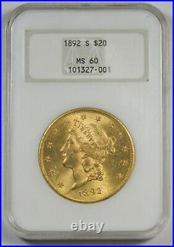 United States 1892 S $20 Liberty Head Gold Coin NGC MS60 UNC/BU Old Fatty Holder