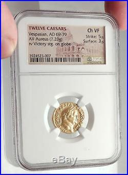 VESPASIAN Ancient 72AD GOLD AUREUS Roman Coin Victory of JUDAEA CAPTA NGC i71698