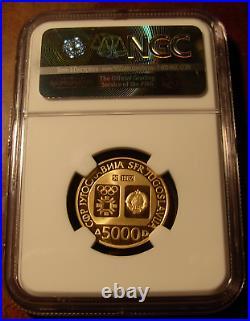 Yugoslavia 1982 gold 5000 Dinara NGC PF69UC Sarajevo Olympics Emblem