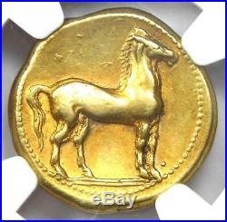 Zeugitana Carthage Gold EL Stater Tanit, Horse Coin 320-270 BC NGC Choice VF